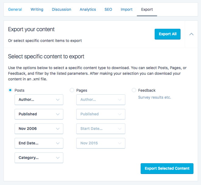WordPress.com Site Export